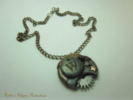 Steampunk W Pendant by hattiepolyproduction