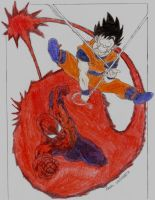 Goku and Spider-Man colored by segamarvel