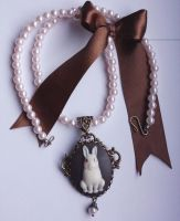 Rabbit cameo pearls necklace by Pinkabsinthe