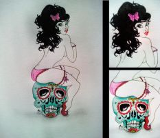 Candy Skull Pin-up by meganMALFUNCTION