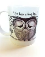 Its Been A  Long Day - Mr. Owl Coffee Mug by InkyDreamz