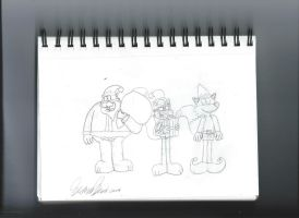 Bob, Harry and Tommy in christmas uniform sketch by StephenRStorti91
