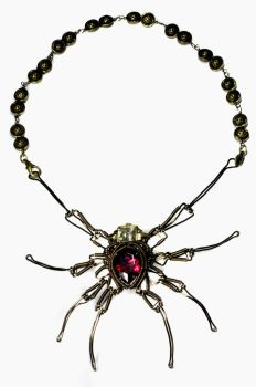 Steampunk Spider Jeweled Necklace by CatherinetteRings