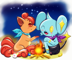 Shinx y Vulpix para humphreywolf2012 by Pokkiu