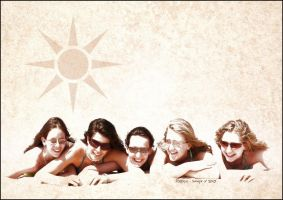 Girls on the beach by Bouzounours