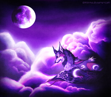 Violet Moon in the Clouds by Demeritas