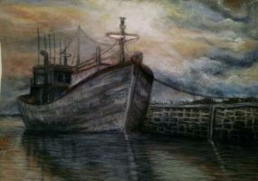 PASTEL DRAWING BOAT by mona-croll