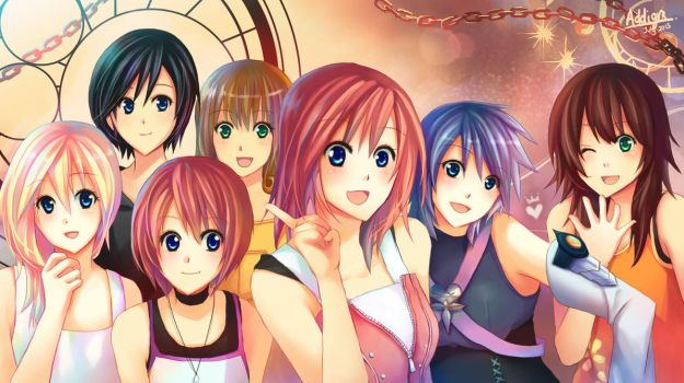 Kingdom Hearts girls ...except for Selphie by Addigni