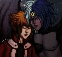 GX: Judai and Yubel by foxysquid
