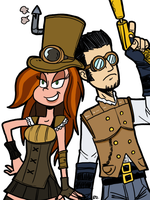 FortePhoenix and theEyZmaster Steampunked by BloomsThorns