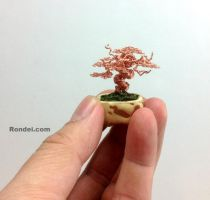 Copper Mame Wire Bonsai Tree in Yamadori style by KenToArt