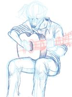 saunders and a guitar - rough sketch by oomizuao