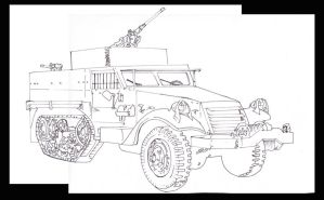 M3 Half Track- Armored personnel Carrier (lineart) by Muerphy