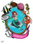 Little Mermaid Tattoo Commission by jesus-at-art
