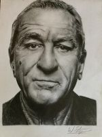 Pencil portrait of Robert De Niro completed by WStanganini