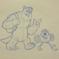 Mike and Sully from Monsters University by ryanhuertas