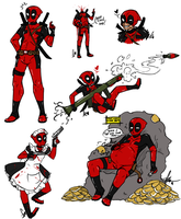 Deadpool Doodles by Squidbiscuit