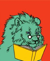 A Reading Lion by galazy