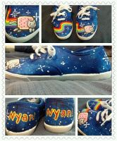 Nyan cat shoes by LimitlessDreamer