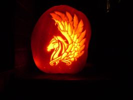 Pegasus on a pumpkin by xplodvelt74