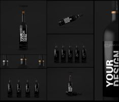 Wine Bottles Mock-up by SynthDesign