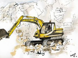 JCB in  a small quarry at Rispond by merearthling