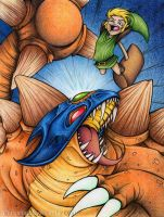 Link vs. Helmasaur King by albinoshadow