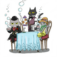 Detective Cats is tea time by heivais