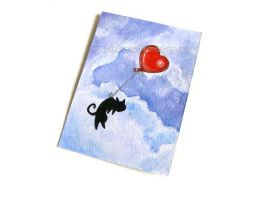 Heart Balloon Cat ACEO / Sold by sobeyondthis