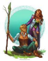 Karos and Raien - fullbody coloured commission by Ithilnaur