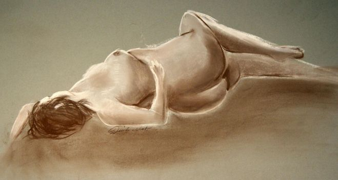 Pastel Figure Drawing - Laying by JennyWheat