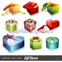 Vector Icons: Gift Boxes by kingofvectors