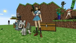 Haruhi does a little Minecraft by PrawnBoy101