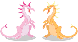 AJ and pinkie pie dragons by Elsdrake