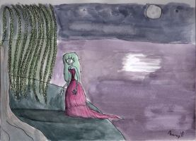 Girl By Moonlight Lake by Nightmares4Breakfast