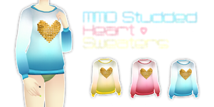 MMD Studded Heart Sweaters (Fits Lat) by Tehrainbowllama