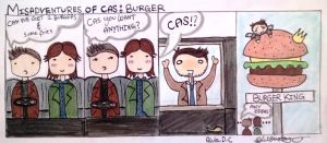 Misadventures of Cas: Burger by AlulaDreamCreations