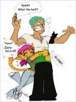 Zoro glomp in color by pirateneko