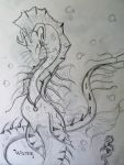 sketchB-swimming water dragon by PookiePony