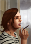 Woman smoking by Pixelpunkk