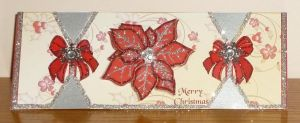 Silver and Red Pointsetta Cracker Card by blackrose1959