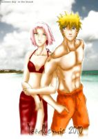 narusaku on the beach by noodlemie
