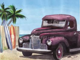 1948 International KB2 At The Beach. by FastLaneIllustration