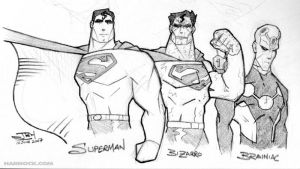 Superman, Bizzaro and Brainiac by OrcaDesignStudios