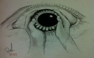 eye with hand by loy21