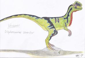 JP: Dilophosaurus Veneifer by Sinncrow