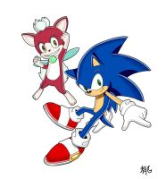 sonic and chip by Uwall