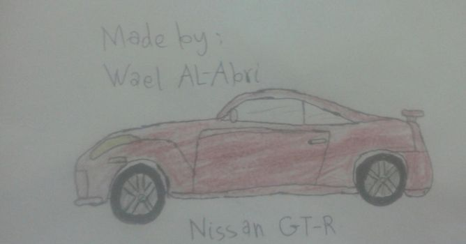 A drawing for Nissan GT-R by Wael-sa