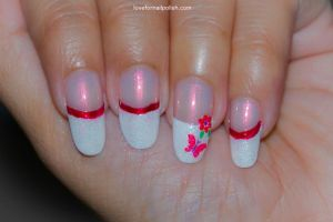 White Nail Tips, Butterfly and Flower! by Gorgeousnails