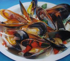 Big Steamed Mussels by elliez1